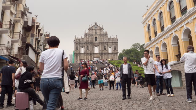 Beautiful architecture building with Ruin of st paul in macau city