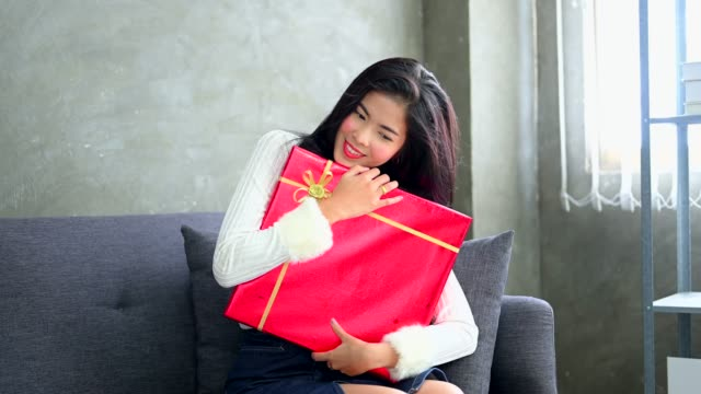 Beautiful Asian Women with Present Gift in Valentine's Day