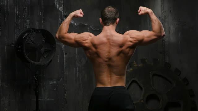 美しい選手がスタジオで筋肉を示します - ボディビル点の映像素材/bロール