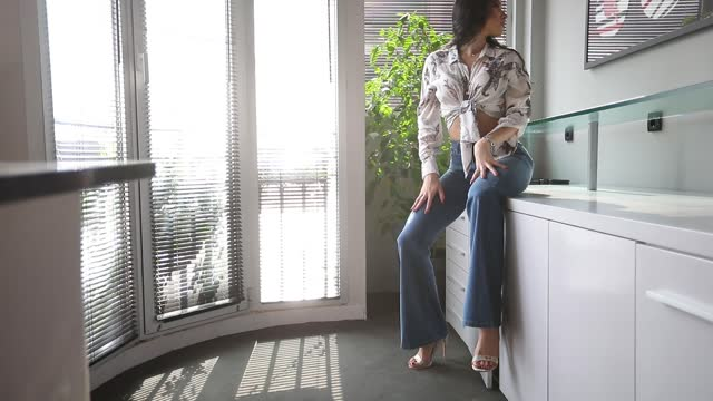 Beautiful attractive woman in hotel room video