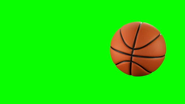 Schönen Basketball Ball wirft in Zeitlupe auf Green-Screen. Satz von 4 Videos. Basketball 3D-Animationen von fliegenden Ball. 4k UHD 3840 x 2160. – Video