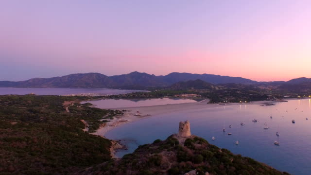 vista aerea: bellissima baia all'alba - sardegna video stock e b–roll