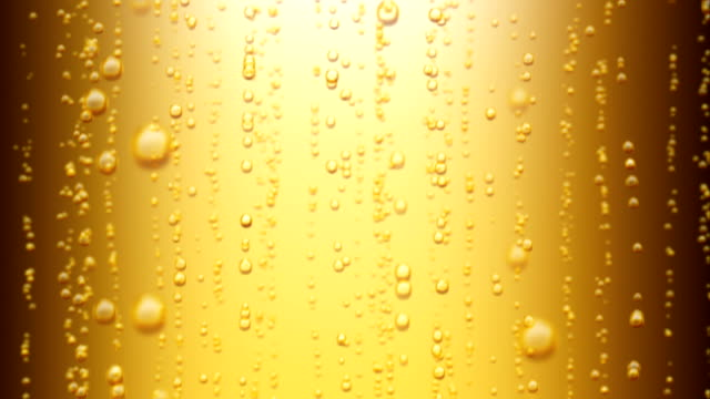 vídeos de stock e filmes b-roll de beautiful beer bubbles rising up. loopable 3d animation of sparkling water on yellow background. hd 1080. - champanhe