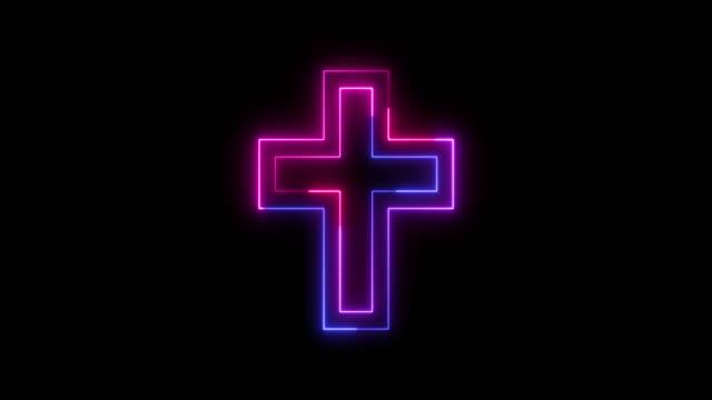 vacker svart bakgrund av neonkorsikon - korsform bildbanksvideor och videomaterial från bakom kulisserna