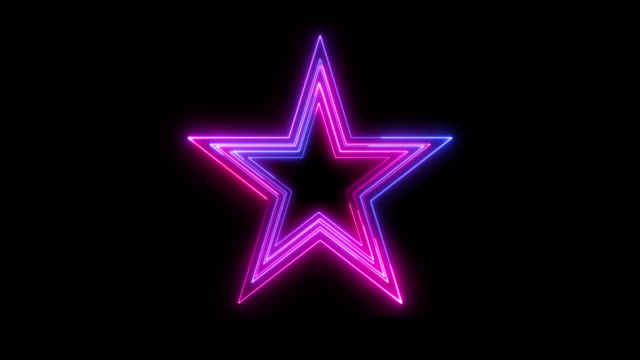 Beautiful black background of neon star icon