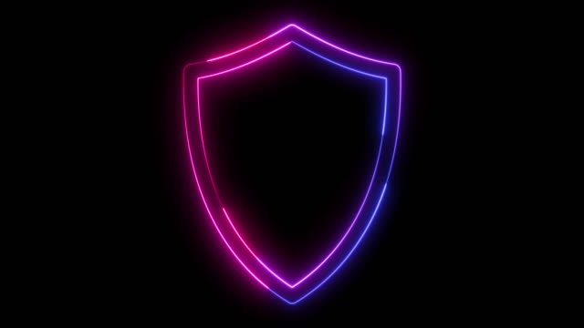 Beautiful black background of shield icon Flickering blue and red shield symbol shield stock videos & royalty-free footage