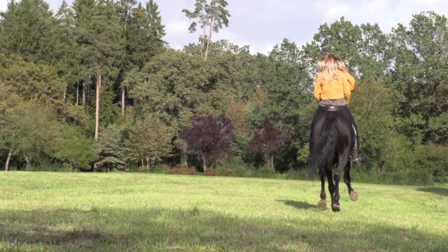 黄色いジャケットと革のズボンの美しいブロンドの女性 - 動物に乗る点の映像素材/bロール
