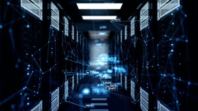beautiful blue abstract numbers moving in abstract server room with dof blur. looped 3d animation of datacenter. business and futuristic technology concept. - struttura pubblica video stock e b–roll