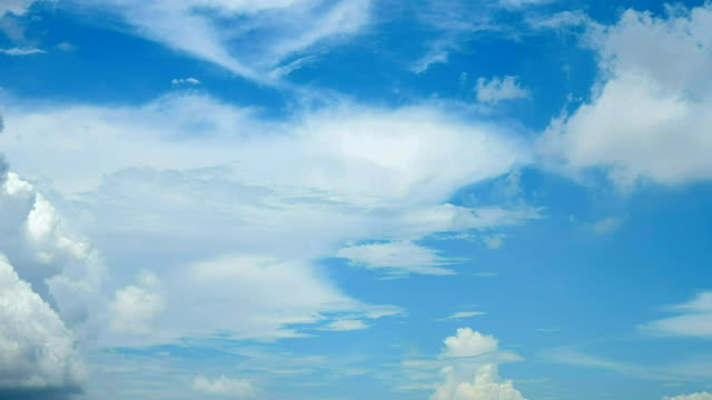 beautiful blue sky with white clouds in the morning timelapse at 17 to 9 ratio - vídeo
