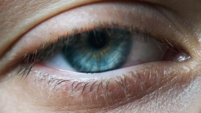 vídeos de stock e filmes b-roll de beautiful blue woman eye, extreme close-up. sight. detail view young girl's eye - castanho