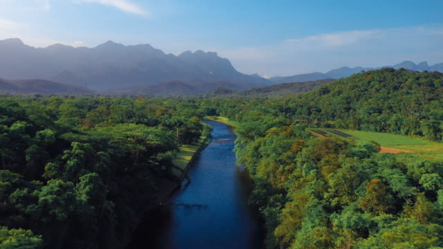 Beautiful brazilian scenery river in tropical green forest with mountains in background Aerial view of amazon nature amazon stock videos & royalty-free footage