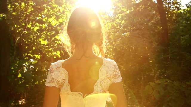 Beautiful Bride Back Walking Forest Nature Wedding Concept HD video