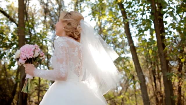 Beautiful bride spinning around video