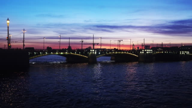 beautiful bridge on river in moscow video