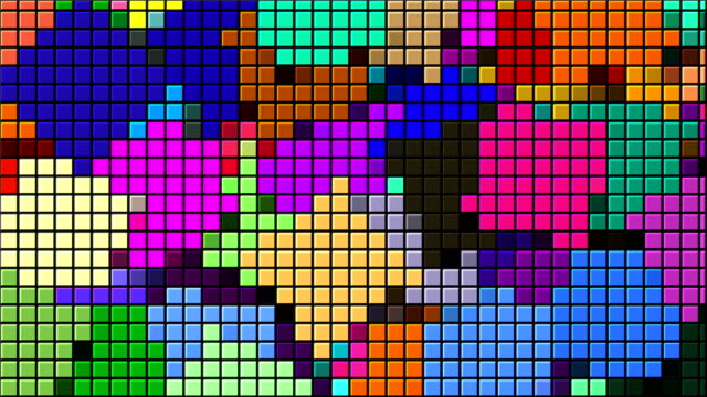 Beautiful bright mosaic with square particles, this is computer generated abstract digital technology background, 3d render