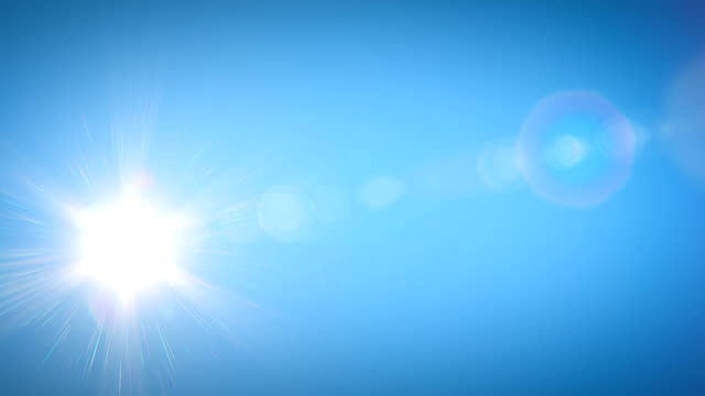 beautiful bright sun shining moving across the clear blue sky in time-lapse. 3d animation with flares. nature and weather concept. - ultra high definition television filmów i materiałów b-roll