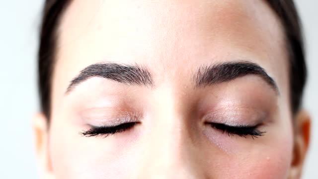 Beautiful brown woman's eyes video