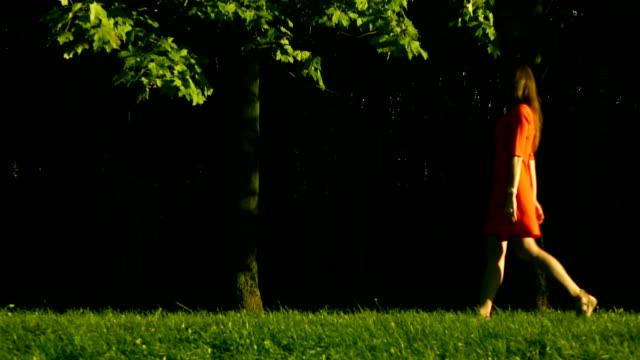 sağdan sola, profil görünümü parkta çim yürüyüş kırmızı elbise güzel esmer kız. yavaş hareket videosu - uzun adımlarla yürümek stok videoları ve detay görüntü çekimi