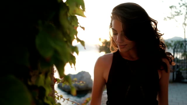 Beautiful brunette poses on sea shore on summer evening outdoors video
