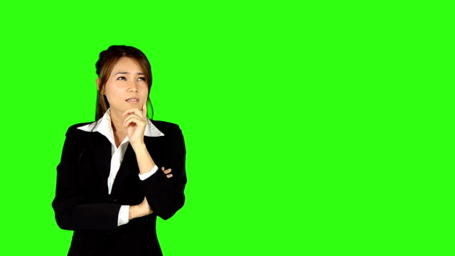 Beautiful Business Woman Get A Idea With Green Screen Background video