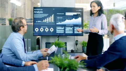 vídeos de stock, filmes e b-roll de bela empresária dá relatório / apresentação aos seus colegas de negócios em conferência quarto, mostra gráficos, gráficos de pizza e do crescimento da empresa na parede tv. - business