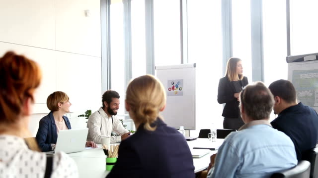 Beautiful businesswoman giving presentation to colleagues video
