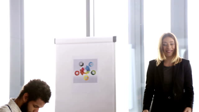 Beautiful businesswoman leading a meeting in conference room video