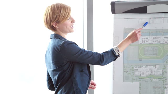 Beautiful businesswoman pointing at flipchart with pen video