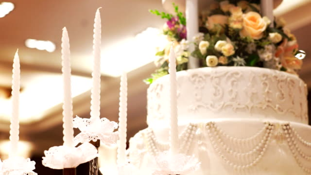 Beautiful Cake and candle for wedding party video