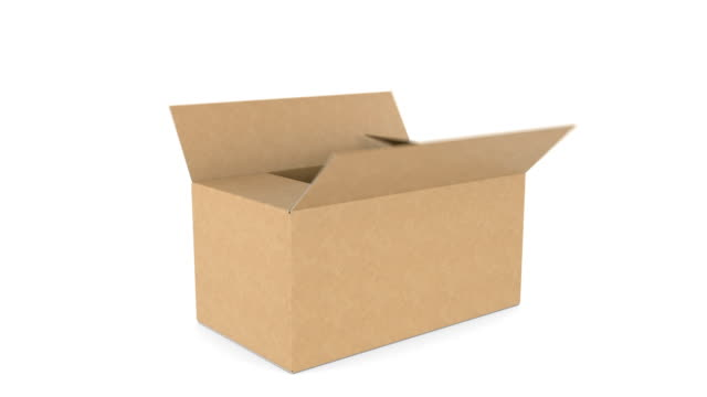 Beautiful Cardboard Box Fast Fall Down, Opening and Closing on White Backgrounds with Alpha Mask. 3d Animation of Storage Box. Delivery Concept.