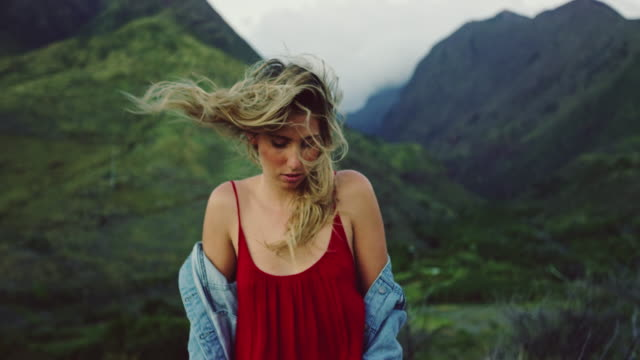 Beautiful Carefree Young Woman with Wind Blown Hair video