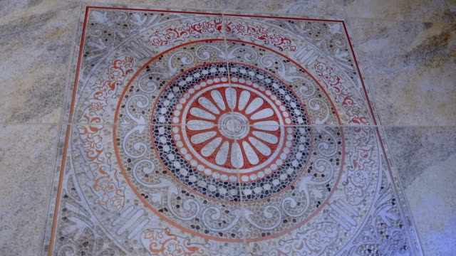 beautiful ceramic floor tiles with an interesting pattern on the arabic style - piastrella video stock e b–roll