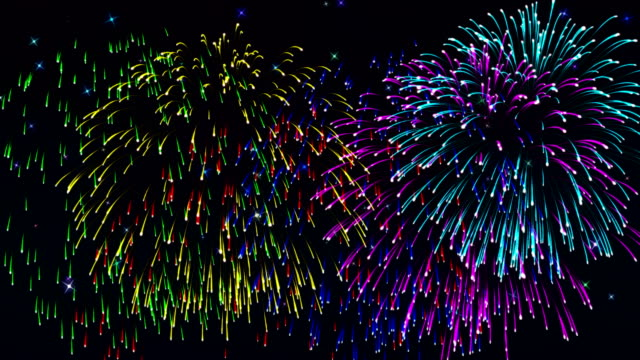 Beautiful cg fireworks in celebration day, loop video