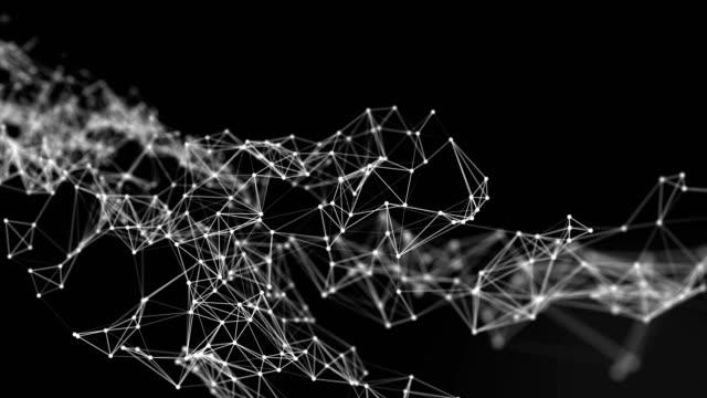 vídeos y material grabado en eventos de stock de hermosa cg generado fondo abstracto en 3d con geometría de líneas y puntos, conexión de red futurista sobre fondo blanco - plexo