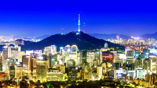 vídeos de stock e filmes b-roll de beautiful city in night, cityscape of seoul, south korea, seoul tower modern building and architecture at nighttime - seul