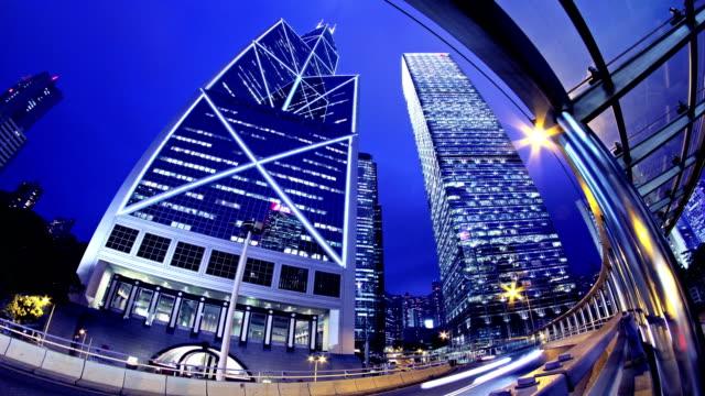 Beautiful City Night Timelapse. Hong Kong of China. 4K Fisheye Shot. video