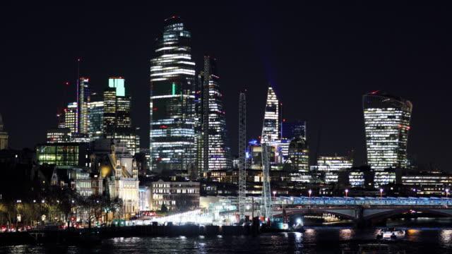 Beautiful City of London cityscape at night - video