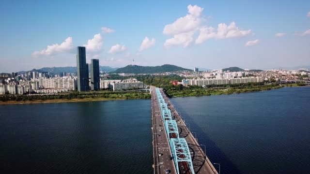 Beautiful cityscape Aerial view of Seoul City, South Korea. Beautiful cityscape Aerial view of Seoul City, South Korea. gyeongbokgung stock videos & royalty-free footage