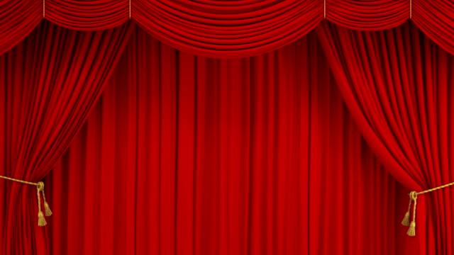vídeos y material grabado en eventos de stock de hermoso teatro clásico rojo abstracto apertura de la cortina de levantamiento y cierre con pantalla verde. 3d animación realista teatro escenario cortina con máscara alfa. - cortina
