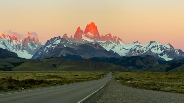 Beautiful, clean sunrise time lapse of Mt Fitz Roy near El Chalten, Patagonia