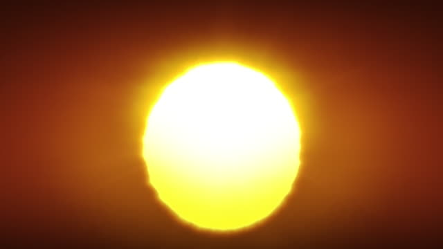 Beautiful Clear Big Sunrise (Sunset) Close-up Looped Animation. Big Red Hot Sun in Warm Air Distortion Above Horizon Seamless.