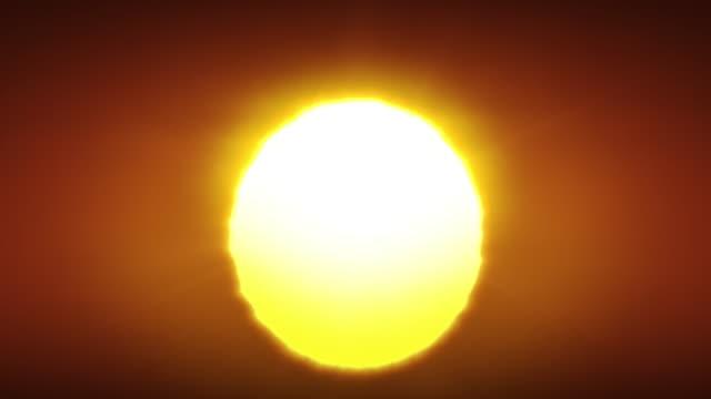 schöne clear big sunrise (sunset) close-up looped animation. große rote heiße sonne in warmer luft verzerrung über horizont nahtlos. - sonne stock-videos und b-roll-filmmaterial