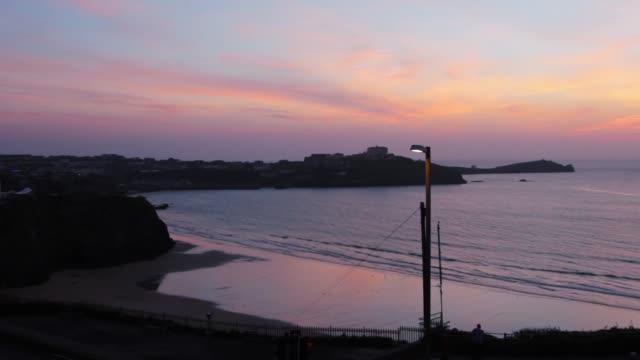 Beautiful coastal view in Cornwall at dusk (HD) video
