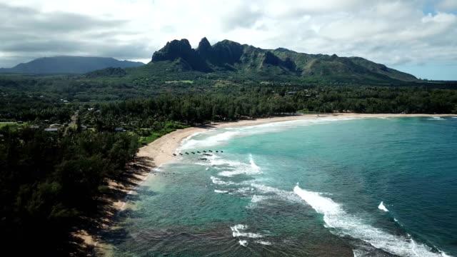 Beautiful Coastline and Beach on Maui Island Beneath Mountain Mountains, Drone - Hawaii, Beach big island hawaii islands stock videos & royalty-free footage