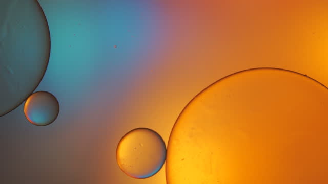 Beautiful color abstract background based on blue and yellow circles, macro abstraction