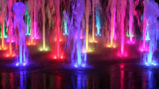 Beautiful colorful fountain at night video