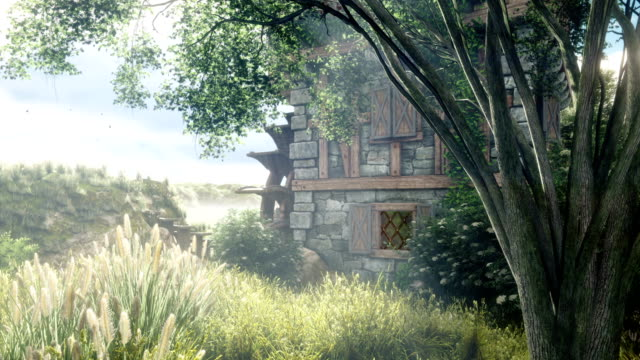 Beautiful countryside with a water mill. The mill wheel rotates against the background of beautiful summer nature. Looping 3D animation.