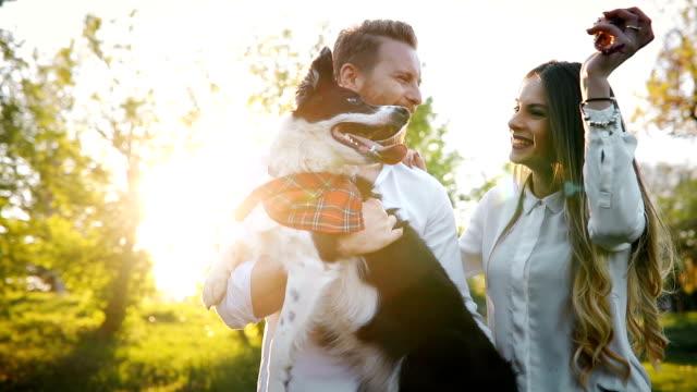 Lindo casal passear com cães e colagem na natureza - vídeo