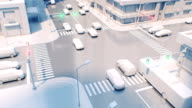 istock Beautiful Crossroad in Modern City with Traffic Lights Switching Green Red Colors Glowing. Car Traffic on the Streets 3d Animation. 1175528198