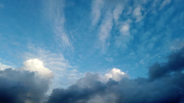 Beautiful dark blue sky with clouds in time lapse video